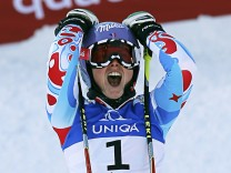 Tessa Worley of France reacts after her second run of the women's Giant Slalom race at the World Alpine Skiing Championships in Schladming