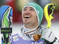 Silver medallist Felix Neureuther of Germany reacts during the medal ceremony of the men's Slalom race at the World Alpine Skiing Championships in Schladming