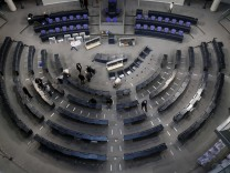 General overview shows plenary German lower house of parliament Bundestag during preparation works for upcoming festivities to celebrate 50 years of Elysee Treaty in Berlin