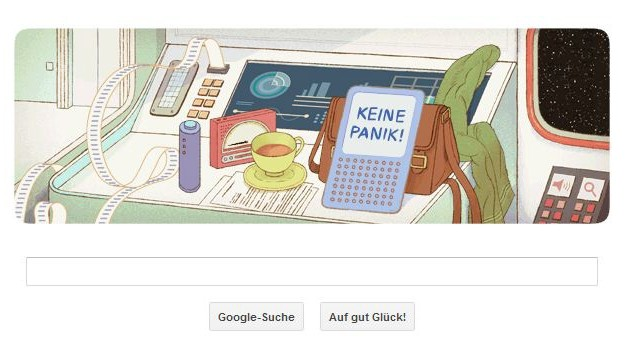 Douglas Adams, Google Doodle, Anhalter durch die Galaxis