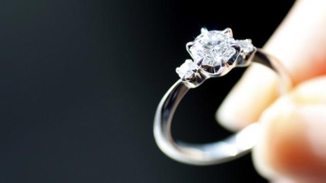 An engagement ring is displayed at a jewellery store in Tokyo