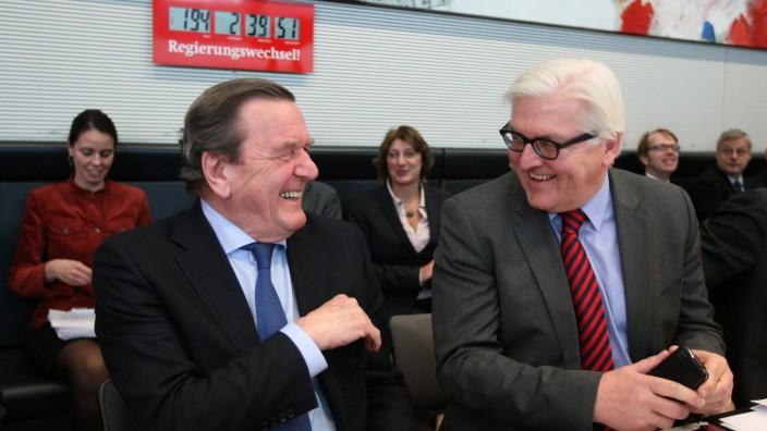 Gerhard Schroeder Attends SPD Bundestag Faction Meeting