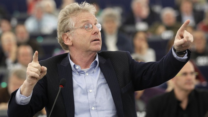 Daniel Cohn-Bendit, co-president of the Group of the Greens/European Free Alliance in the European Parliament, gestures during a debate at the European Parliament in Strasbourg