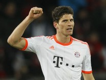 Bayern Munich's Gomez celebrates his goal against Bayer Leverkusen during their German first division Bundesliga soccer match in Leverkusen