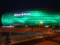 Allianz Arena Illuminated In Green For St. Patricks Day