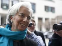 International Monetary Fund Managing Director Lagarde arrives for the Frankfurt Finance Summit in Frankfurt