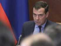 Russian PM Medvedev chairs a meeting on seasonal field work at the Gorki state residence outside Moscow