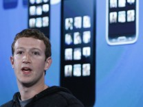 Mark Zuckerberg, Facebook's co-founder and chief executive during a Facebook press event to introduce 'Home' a Facebook app suite that integrates with Android, in Menlo Park