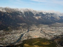 An aerial view shows the snowless Nordkette mountains in the western Austrian city of Innsbruck