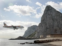 Iberia aircraft comes in to land during a test at an airport in Gibraltar