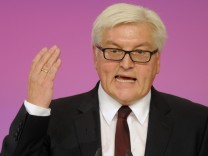 Steinmeier of the Social Democratic Party gestures during his speech at SPD party convention in Berlin.