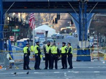 Aftermath of bombings at the finish line of the Boston Marathon