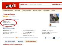 Screenshot von Yelp.com.