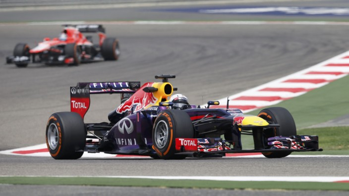 Red Bull Formula One driver Vettel of Germany drives during the first practice session of the Bahrain F1 Grand Prix at the Sakhir circuit