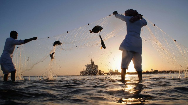 Fishermen check their nets for the day's catch as an oil tanker is seen in the distance near the port in the north-western city of Duba