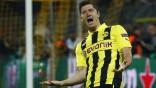 Borussia Dortmund's Lewandowski celebrates scoring against Real Madrid in Champions League semi-final first leg soccer match in Dortmund