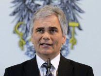 Austria's Chancellor Faymann addresses a news conference in Vienna