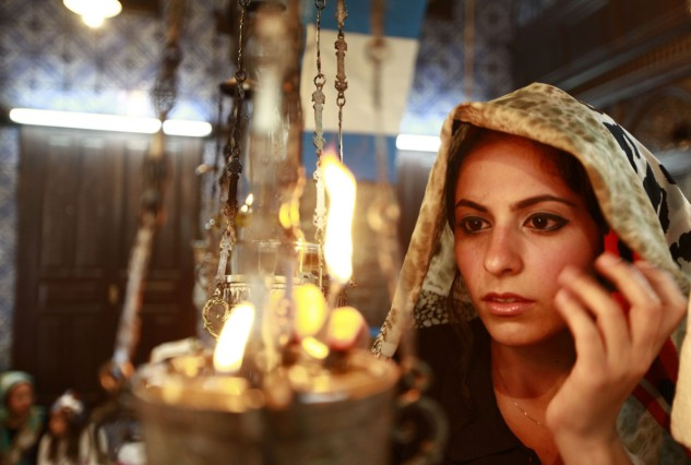 A Jewish worshipper prays during a pilgrimage to the El Ghriba synagogue in Djerba