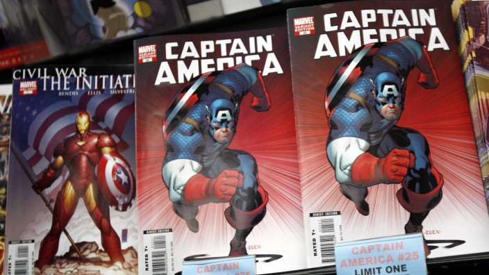 File photo of copies of the Captain America comic book are displayed at a store in New York