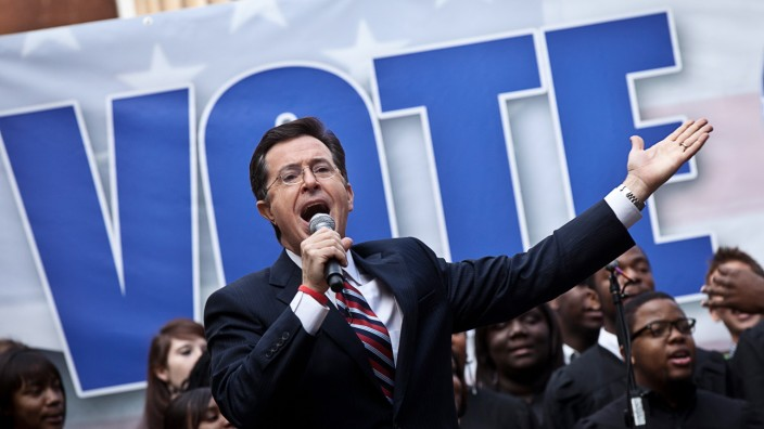 Comedian Stephen Colbert Holds A Rally For Former GOP Candidate Herman Cain