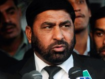 File picture shows prosecutor Chaudhry Zulfikar talking to journalists outside the anti-terrorism court in Rawalpindi