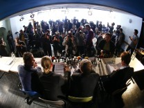 Lawyers and joint plaintiff for the relatives victims of the neo-Nazi group National Socialist Underground (NSU) address a news conference in Munich