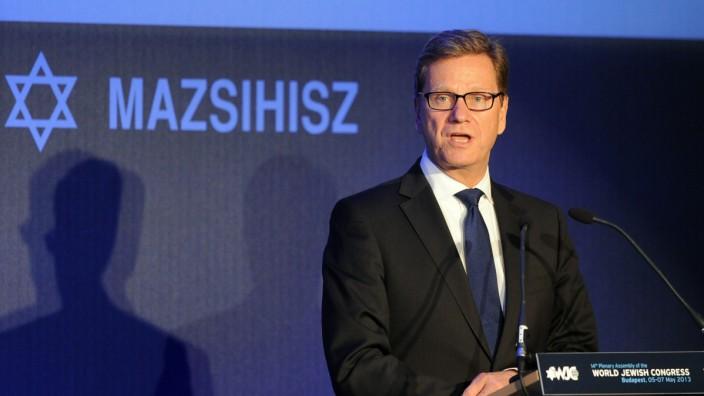 Außenminister Guido Westerwelle beim Jüdischen Weltkongress in Budapest