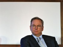 File picture shows Google Executive Chairman Schmidt at a function on catalysing tech start-ups in New Delhi