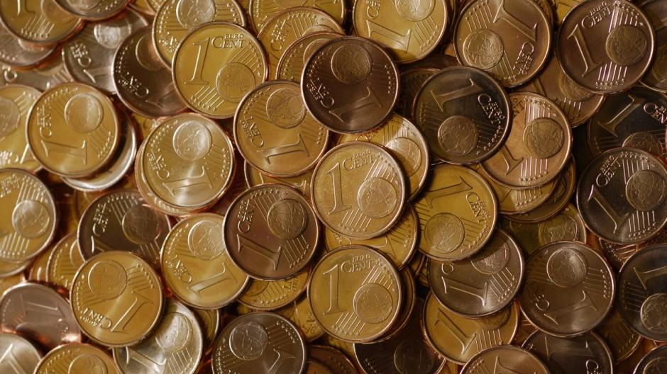 Die 1 Cent Münze ist die meistgeprägte Münze in 'Euroland'