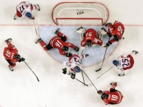 Czech Republic's Voracek, Hudler and Vrbata try to score past the Swiss defence during their 2013 IIHF Ice Hockey World Championship quarter-final match at the Globe Arena in Stockholm