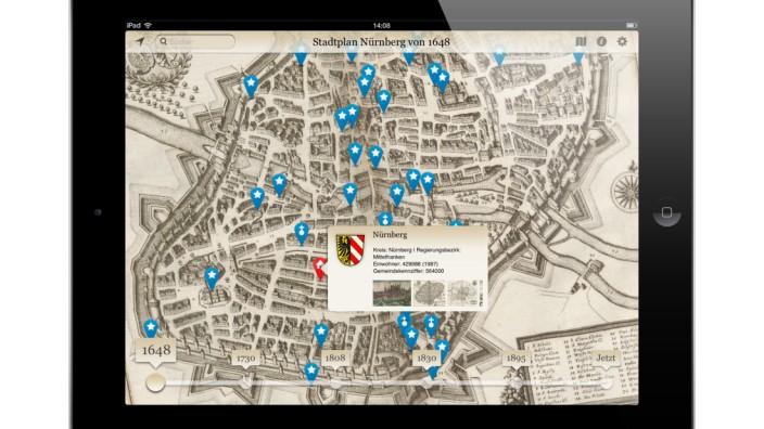 """Blick auf die neue App der Bayerischen Staatsbibliothek """"Bayern in historischen Karten""""."""