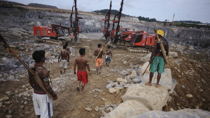Amazon Indians occupy the main construction site of the Belo Monte hydroelectric dam in Vitoria do Xingu