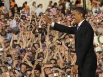 Barack Obama bei seiner Rede an der Berliner Siegessäule am 24. Juli 2008
