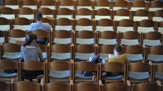 Studenten in einem Hörsaal der Münchner LMU, 2012