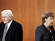 Frank-Walter Steinmeier und Angela Merkel, ddp