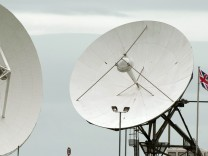 Satellite dishes are seen at GCHQ's outpost at Bude, close to where trans-Atlantic fibre-optic cables come ashore in Cornwall, southwest England
