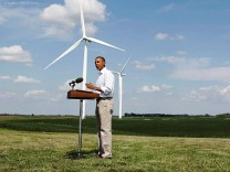 U.S. President Obama delivers a statement to media about energy on the Heil Family Farm while in Haverhill