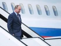 Russia's President Putin arrives at Turku Airport in Turku