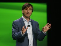 File photo of Don Mattrick speaking about Xbox One during a press event unveiling Microsoft's new Xbox in Redmond