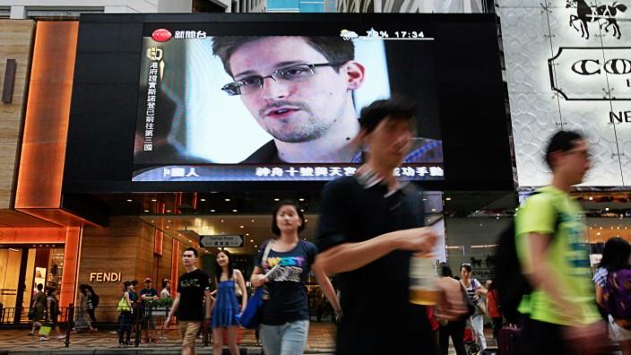 Edward Snowden auf einem Bildschirm in Hongkong