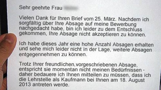 Abgelehnter Azubi Schlägt Per Brief Zurück Karriere Süddeutschede