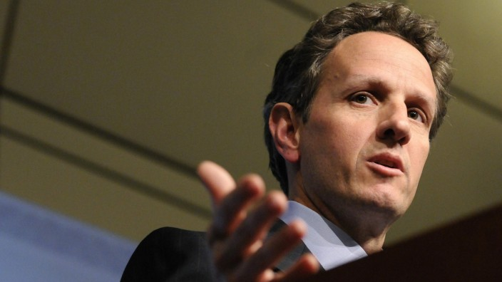 Geithner addresses a news conference in Washington