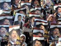 Pro-Morsi protest outside Rabaa al-Adawiya mosque in Cairo