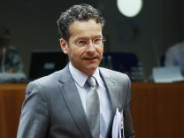 Dutch FM and Eurogroup Chairman Dijsselbloem arrives at a EU finance ministers meeting in Brussels