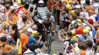 AG2r La Mondiale team rider Riblon of France cycles to win the 172.5km eighteenth stage of the centenary Tour de France cycling race from Gap to l'Alpe d'Huez