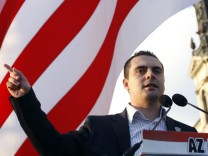 Vona, chairman of Hungary's far-right party 'Jobbik' delivers a speech in Budapest