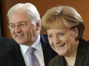 Kandidatenquiz: Frank-Walter Steinmeier und Angela Merkel, dpa