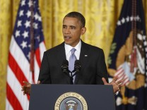 U.S. President Obama addresses a news conference at the White House in Washington
