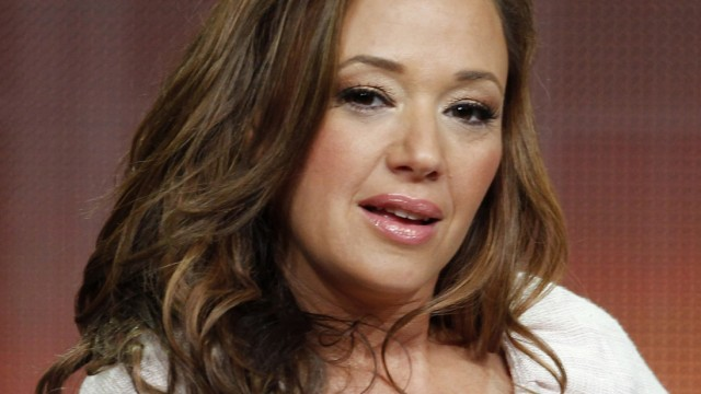 File picture shows actress Leah Remini speaking at a panel discussion in Beverly Hills, California