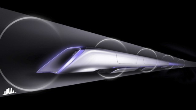 Sketch of proposed 'Hyperloop' transport system proposed by billionaire Elon Musk